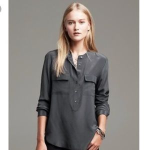 Banana Republic Popover Silk Blouse Gray XS